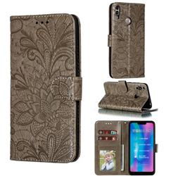 Intricate Embossing Lace Jasmine Flower Leather Wallet Case for Huawei Honor 8C - Gray