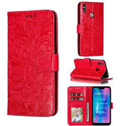 Intricate Embossing Lace Jasmine Flower Leather Wallet Case for Huawei Honor 8C - Red