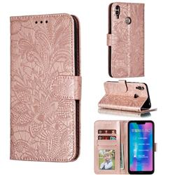 Intricate Embossing Lace Jasmine Flower Leather Wallet Case for Huawei Honor 8C - Rose Gold