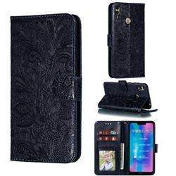 Intricate Embossing Lace Jasmine Flower Leather Wallet Case for Huawei Honor 8C - Dark Blue