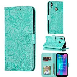 Intricate Embossing Lace Jasmine Flower Leather Wallet Case for Huawei Honor 8C - Green