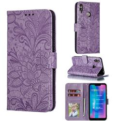 Intricate Embossing Lace Jasmine Flower Leather Wallet Case for Huawei Honor 8C - Purple