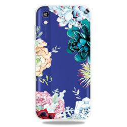 Gem Flower Clear Varnish Soft Phone Back Cover for Huawei Honor 8S(2019)