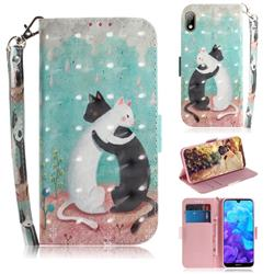 Black and White Cat 3D Painted Leather Wallet Phone Case for Huawei Honor 8S(2019)