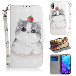 Cute Tomato Cat 3D Painted Leather Wallet Phone Case for Huawei Honor 8S(2019)