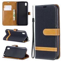 Jeans Cowboy Denim Leather Wallet Case for Huawei Honor 8S(2019) - Black