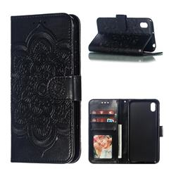 Intricate Embossing Datura Solar Leather Wallet Case for Huawei Honor 8S(2019) - Black