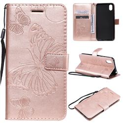 Embossing 3D Butterfly Leather Wallet Case for Huawei Honor 8S(2019) - Rose Gold