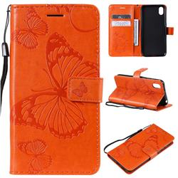 Embossing 3D Butterfly Leather Wallet Case for Huawei Honor 8S(2019) - Orange