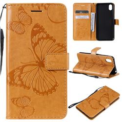 Embossing 3D Butterfly Leather Wallet Case for Huawei Honor 8S(2019) - Yellow