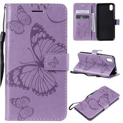 Embossing 3D Butterfly Leather Wallet Case for Huawei Honor 8S(2019) - Purple