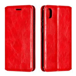 Retro Slim Magnetic Crazy Horse PU Leather Wallet Case for Huawei Honor 8S(2019) - Red