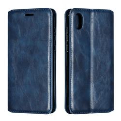 Retro Slim Magnetic Crazy Horse PU Leather Wallet Case for Huawei Honor 8S(2019) - Blue