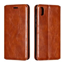 Retro Slim Magnetic Crazy Horse PU Leather Wallet Case for Huawei Honor 8S(2019) - Brown