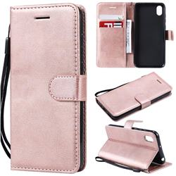 Retro Greek Classic Smooth PU Leather Wallet Phone Case for Huawei Honor 8S(2019) - Rose Gold