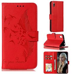 Intricate Embossing Lychee Feather Bird Leather Wallet Case for Huawei Honor 8S(2019) - Red