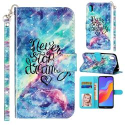 Blue Starry Sky 3D Leather Phone Holster Wallet Case for Huawei Honor 8S(2019)