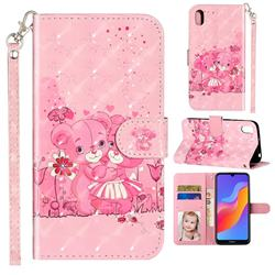 Pink Bear 3D Leather Phone Holster Wallet Case for Huawei Honor 8S(2019)