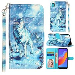 Snow Wolf 3D Leather Phone Holster Wallet Case for Huawei Honor 8S(2019)