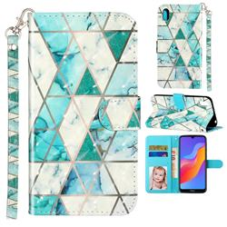 Stitching Marble 3D Leather Phone Holster Wallet Case for Huawei Honor 8S(2019)