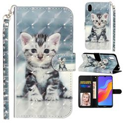 Kitten Cat 3D Leather Phone Holster Wallet Case for Huawei Honor 8S(2019)