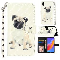 Pug Dog 3D Leather Phone Holster Wallet Case for Huawei Honor 8S(2019)