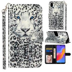 White Leopard 3D Leather Phone Holster Wallet Case for Huawei Honor 8S(2019)