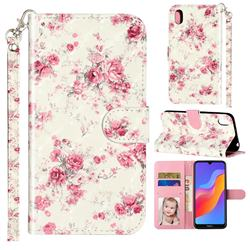 Rambler Rose Flower 3D Leather Phone Holster Wallet Case for Huawei Honor 8S(2019)