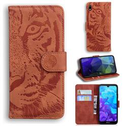 Intricate Embossing Tiger Face Leather Wallet Case for Huawei Honor 8S(2019) - Brown