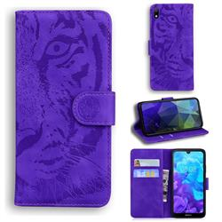 Intricate Embossing Tiger Face Leather Wallet Case for Huawei Honor 8S(2019) - Purple
