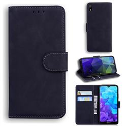 Retro Classic Skin Feel Leather Wallet Phone Case for Huawei Honor 8S(2019) - Black