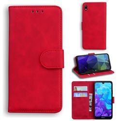 Retro Classic Skin Feel Leather Wallet Phone Case for Huawei Honor 8S(2019) - Red