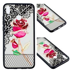 Rose Lace Diamond Flower Soft TPU Back Cover for Huawei Honor 8X