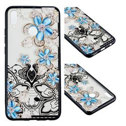 Lilac Lace Diamond Flower Soft TPU Back Cover for Huawei Honor 8X