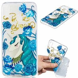 Blue Flower Unicorn Clear Varnish Soft Phone Back Cover for Huawei Honor 8X