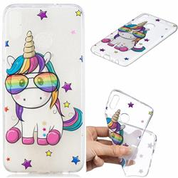 Glasses Unicorn Clear Varnish Soft Phone Back Cover for Huawei Honor 8X