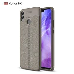 Luxury Auto Focus Litchi Texture Silicone TPU Back Cover for Huawei Honor 8X - Gray