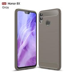 Luxury Carbon Fiber Brushed Wire Drawing Silicone TPU Back Cover for Huawei Honor 8X - Gray
