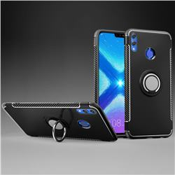 Armor Anti Drop Carbon PC + Silicon Invisible Ring Holder Phone Case for Huawei Honor 8X - Black