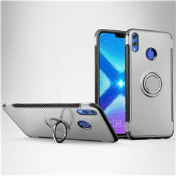 Armor Anti Drop Carbon PC + Silicon Invisible Ring Holder Phone Case for Huawei Honor 8X - Silver