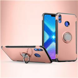 Armor Anti Drop Carbon PC + Silicon Invisible Ring Holder Phone Case for Huawei Honor 8X - Rose Gold