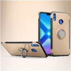 Armor Anti Drop Carbon PC + Silicon Invisible Ring Holder Phone Case for Huawei Honor 8X - Champagne
