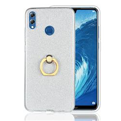 Luxury Soft TPU Glitter Back Ring Cover with 360 Rotate Finger Holder Buckle for Huawei Honor 8X - White