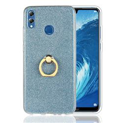 Luxury Soft TPU Glitter Back Ring Cover with 360 Rotate Finger Holder Buckle for Huawei Honor 8X - Blue