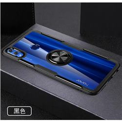 Acrylic Glass Carbon Invisible Ring Holder Phone Cover for Huawei Honor 8X - Black