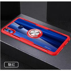 Acrylic Glass Carbon Invisible Ring Holder Phone Cover for Huawei Honor 8X - Charm Red