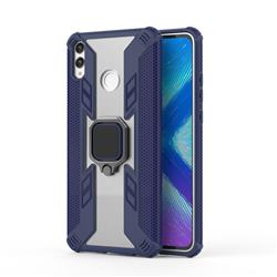 Predator Armor Metal Ring Grip Shockproof Dual Layer Rugged Hard Cover for Huawei Honor 8X - Blue