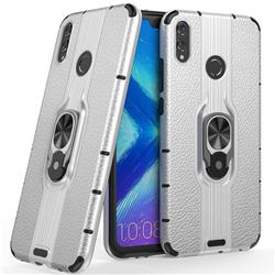 Alita Battle Angel Armor Metal Ring Grip Shockproof Dual Layer Rugged Hard Cover for Huawei Honor 8X - Silver