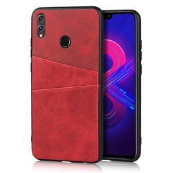 Simple Calf Card Slots Mobile Phone Back Cover for Huawei Honor 8X - Red