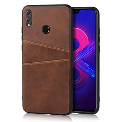 Simple Calf Card Slots Mobile Phone Back Cover for Huawei Honor 8X - Coffee